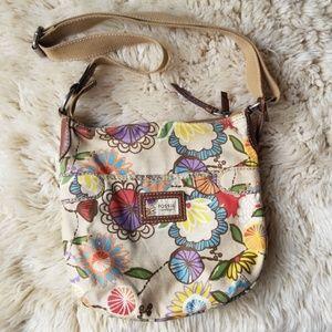 Fossil Vintage Floral Print Canvas Crossbody Bag